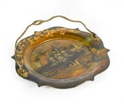 A Victorian Papier Mache Cake Plate, shaped circular, the centre with a mother-of-pearl inlaid and