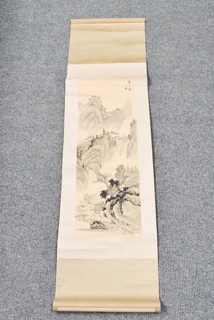 Five 20th century Chinese watercolour scrolls, decorated with landscapes, blossoms and - Image 12 of 15