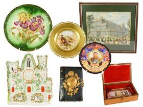 A Collection of Assorted Items, including: a wood box, the hinged cover set with a reverse painted