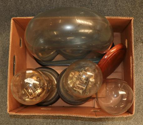 A Victorian oil lamp with etched glass shade together with a large quantity of oil lamp funnels, two