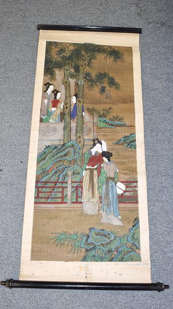 Six 20th century Chinese watercolour scrolls, five decorated with figures in landscapes and one - Image 8 of 18