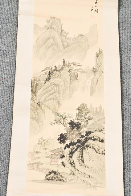Five 20th century Chinese watercolour scrolls, decorated with landscapes, blossoms and - Image 15 of 15