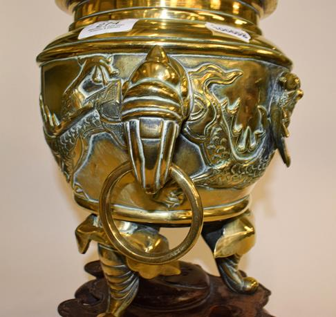 A large early 20th century Japanese brass koro and cover on tri-form hardwood stand, a similar jar - Image 6 of 25