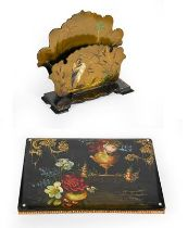 A Victorian Papier Mache Letter Rack and Desk-Blotter, the letter-rack painted with a bird