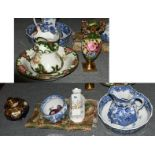 A quantity of decorative ceramics including Masons blue and white wash bowl, jug and chamber pot,