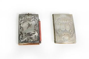 Two Victorian Mother-of-Pearl Aide Memoire, each oblong, one carved with two beaded cartouches on