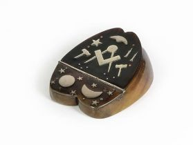 A Victorian Irish Silver-Inlaid Hoof Double Snuff-Box, Probably 19th Century, the hinged cover