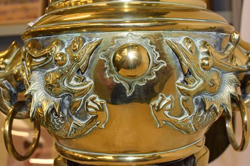 A large early 20th century Japanese brass koro and cover on tri-form hardwood stand, a similar jar - Image 8 of 25