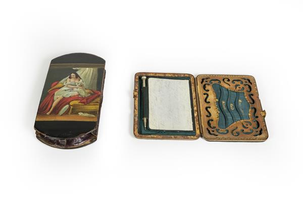 A Victorian Papier Mache Cheroot-Case, shaped oblong, the cover painted on one side with a lady - Image 2 of 2