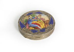 A Continental Silver and Enamel Compact, Stamped '800' Only, Possibly Italian, circular, the