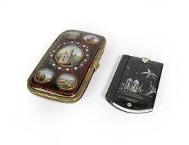 A Victorian Papier Mache Aide Memoire and a Brass-Mounted Faux Tortoiseshell Cheroot case, the cover