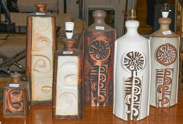 Six Tremaen Pottery Newlyn Cornwall table lamp bases, four with labels, largest 47cm high (6)