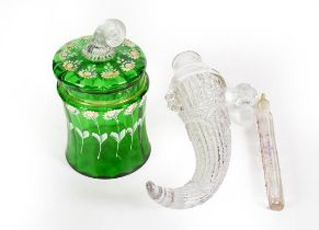 Two Glass Scent-Bottles, one in the form of a cornucopia, the other of square section and with