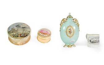 A Graingers Worcester Porcelain Flask, compressed oval and with gilt-heightened handles, the pale