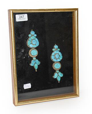 A pair of cased Indo-Persian white metal mounted turquoise three-piece sectional ornamental earrings