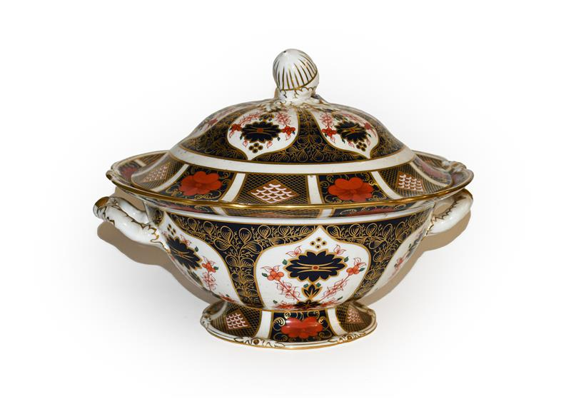 A Royal Crown Derby old Imari patterned platter with acorn handles . 33cm wide. Second quality but