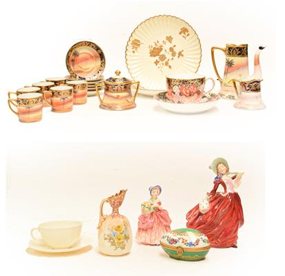 A tray of assorted porcelain including a Belleek cup and saucer, Royal Crown Derby Imari breakfast