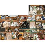 A large quantity of decorative household ceramics, glass and other items including: decanters,
