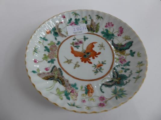 An early 20th century Chinese famille vert plate decorated with butterflies, a smaller famille - Image 6 of 15
