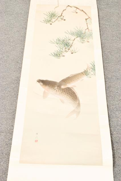 Five 20th century Chinese watercolour scrolls, decorated with landscapes, blossoms and - Image 6 of 15