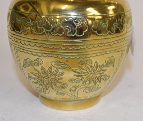 A large early 20th century Japanese brass koro and cover on tri-form hardwood stand, a similar jar - Image 24 of 25