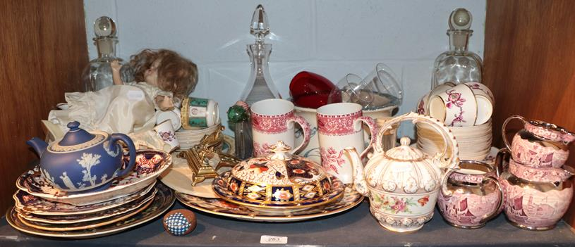 A group of English and Continental 19th century and later ceramics, to include: Wedgwood teapot,