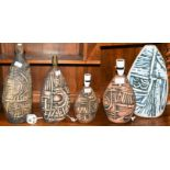 Five Tremaen Pottery Newlyn Cornwall table lamp bases, one with impressed mark and three labelled,