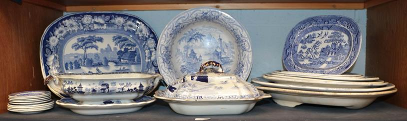 A group of 19th century English blue and white pottery, including: a Masons Ironstone china tureen