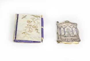 A Victorian Silver and Enamel Aide Memoire and a Victorian Mother-of-pearl Aide Memoire, the first