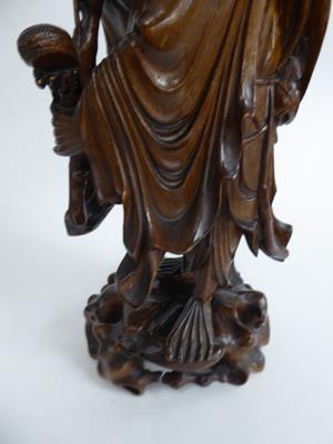 Five late 19th/early 20th century Chinese hardwood carvings, a fisherman, a nomad, water buffalo and - Image 12 of 22