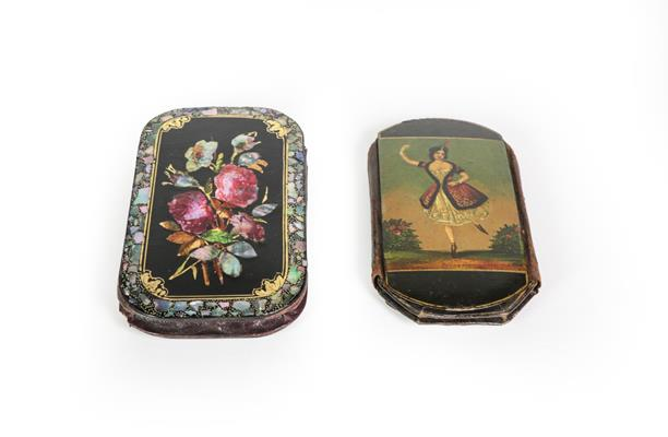 Two Victorian Papier Mache Cheroot-Cases, each shaped oblong, one painted on one side with a lady