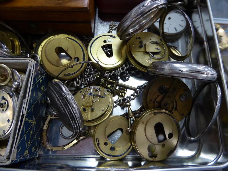 Eight silver open faced pocket watches, enamel dialled wristwatch, movement signed Rolex (case - Image 2 of 4