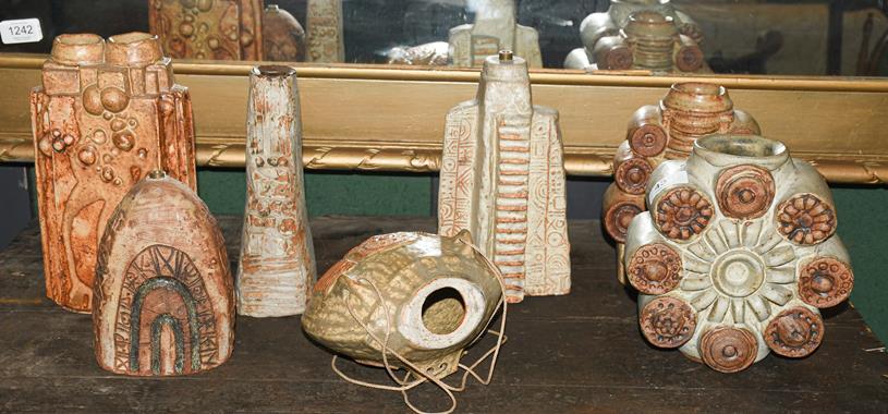 A Bernard Rooke table lamp base with impressed mark, 22cm high, two Bernard Rooke vases, 18cm and