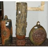 A Bernard Rooke pottery table lamp, impressed mark, 34cm high, and two similar unmarked lamp