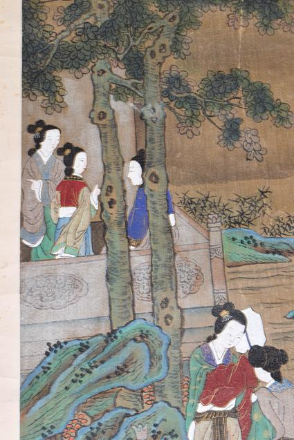 Six 20th century Chinese watercolour scrolls, five decorated with figures in landscapes and one - Image 10 of 18