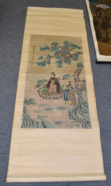 Six 20th century Chinese watercolour scrolls, five decorated with figures in landscapes and one - Image 3 of 18