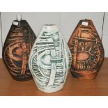 Three Tremaen Pottery Newlyn Cornwall table lamp bases, one labelled (3)