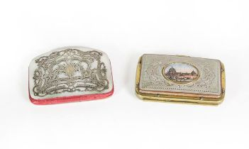 A Victorian Silver and Mother-of-Pearl Purse, oblong, the cover with silver foliage scroll