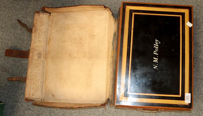 A 19th century leather cased tin campaign writing box, with green painted interior, the cover