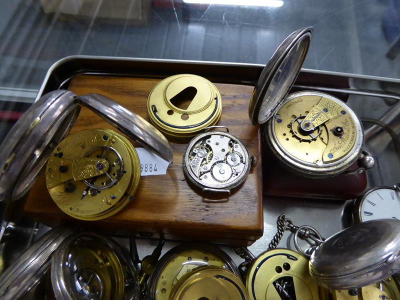 Eight silver open faced pocket watches, enamel dialled wristwatch, movement signed Rolex (case - Image 3 of 4