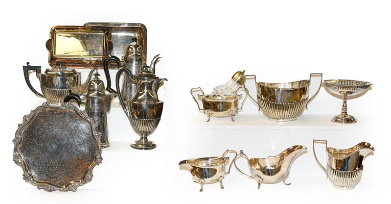 A part oak canteen of plated flatware and a group of plated hollow ware, and other items including a