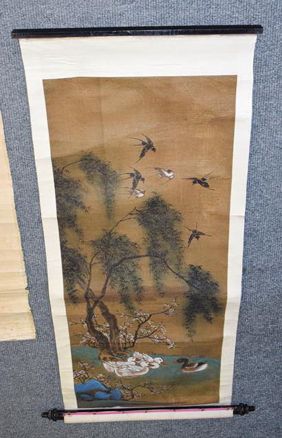 Six 20th century Chinese watercolour scrolls, five decorated with figures in landscapes and one - Image 4 of 18