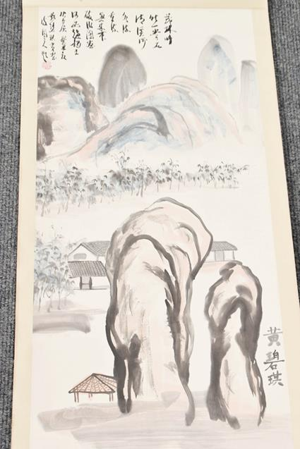 Five 20th century Chinese watercolour scrolls, decorated with landscapes, blossoms and - Image 13 of 15
