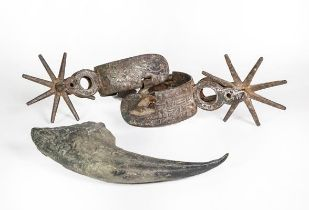 Two Steel Spurs, Possibly South American, with differing decoration; Together With: a composition