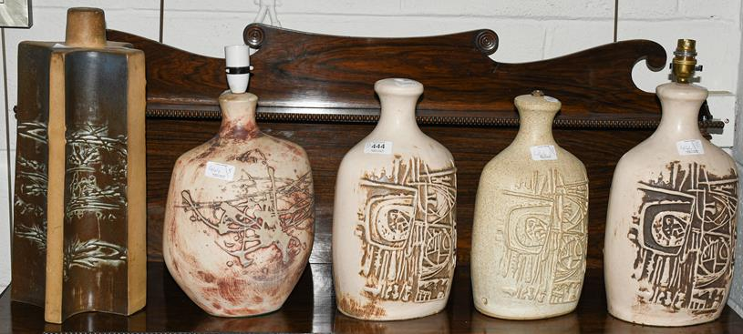 Five Tremaen Pottery Newlyn Cornwall lamp bases, three with labels, largest 41.5cm (5)