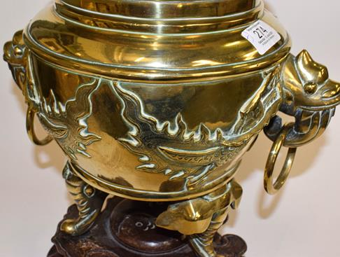 A large early 20th century Japanese brass koro and cover on tri-form hardwood stand, a similar jar - Image 4 of 25
