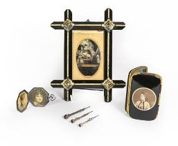 A Group of Various Items, including: a gilt heightened and ebonised frame, containing a picture of a