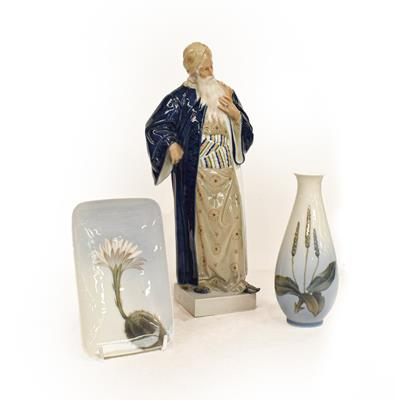 A Royal Copenhagen figure of a bearded man, together with a Royal Copenhagen vase and pin tray (
