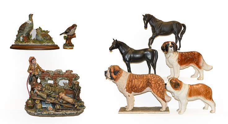 Two Capodimonte groups, a Capodimonte bird model, two Beswick horses, a Border Fine Arts St