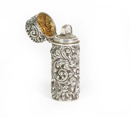 A Victorian Silver Scent-Bottle, by Sampson Mordan and Co., London, 1889, cylindrical, the sides